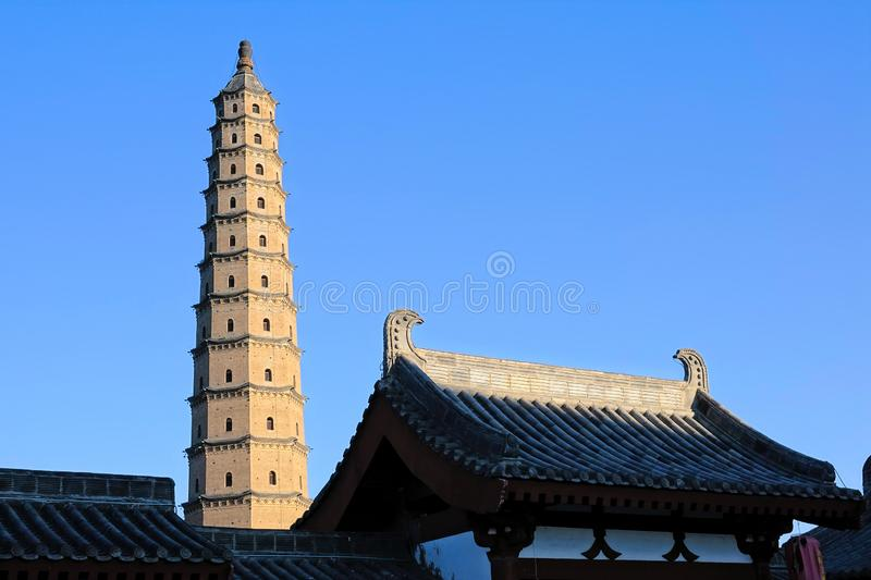Wenfeng Pagoda. The landscape of Wenfeng Pagoda in Fenyang, Shanxi, China royalty free stock image
