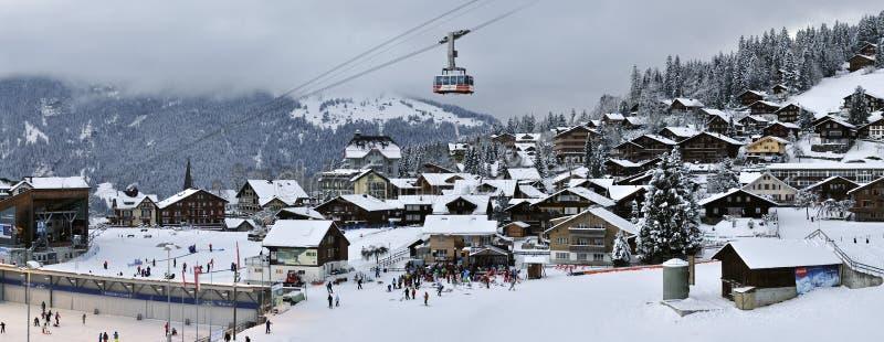 Wengen. The centre of mountain village Wengen - Switzerland stock photo