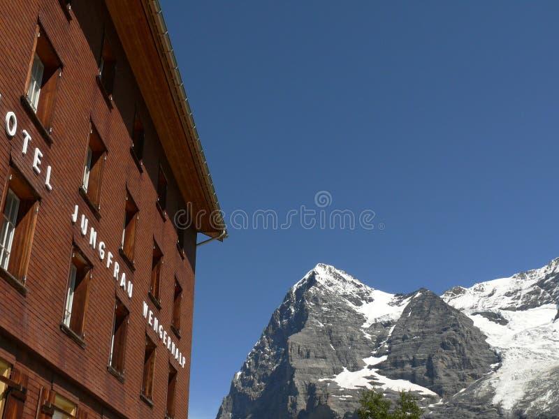 Wengen Schweiz 08/05/2009 Hotell Jungfrau Wengernalp arkivfoto