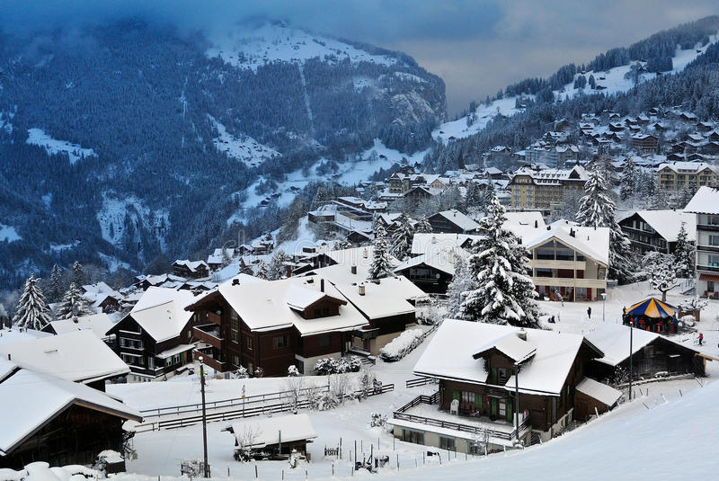 Wengen. Snowy scenery in mountain village Wengen - Switzerland royalty free stock photography
