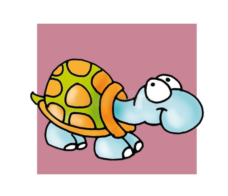 Wenig über dem Schildkröten-Farbillustrationshumoristknopf oder -ikone hinaus lizenzfreie abbildung