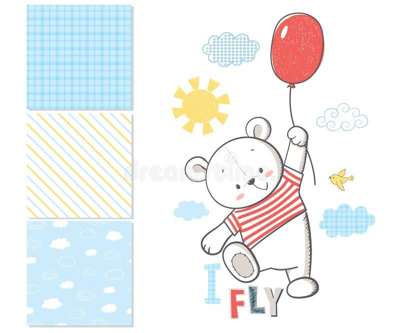 Wenig Bär fliegt in einen Ballon Oberflächenmuster lizenzfreie abbildung