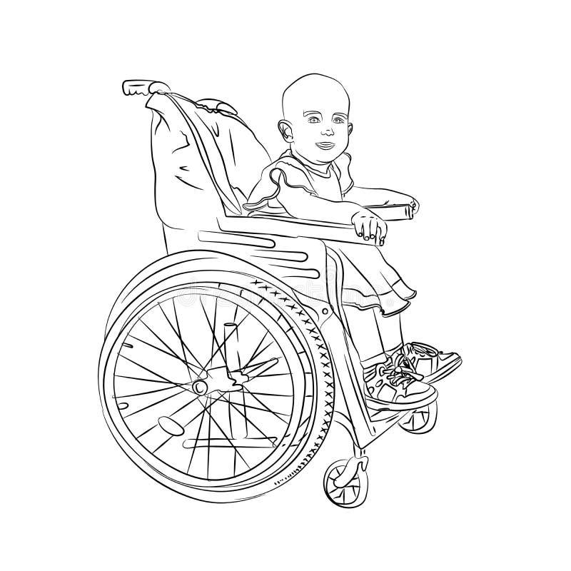 wenig Baby ist krank Kind in einem Rollstuhl lizenzfreie abbildung