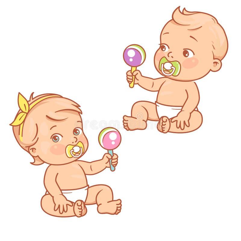 Wenig Baby und Mädchen im sitzenden Spielen der Windel mit Spielwaren stock abbildung