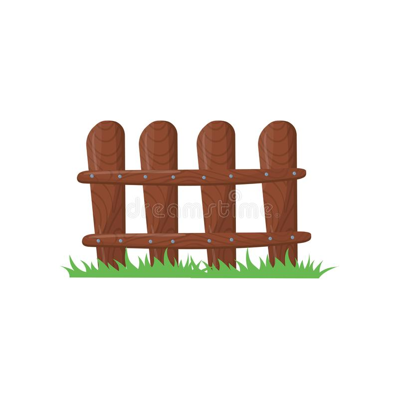 Wenig Bauernhofzaun hergestellt von den braunen Planken Hellgrünes Gras Hölzernes Fechten geklopft mit Nägeln Karikaturikone bunt vektor abbildung