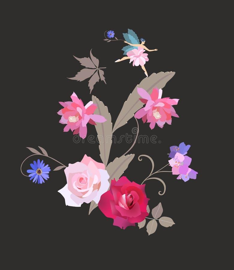Wenig beflügelte das feenhafte Flattern über einem schönen Blumenstrauß von Gartenblumen Schöne Glückwunsch- oder Einladungskarte vektor abbildung