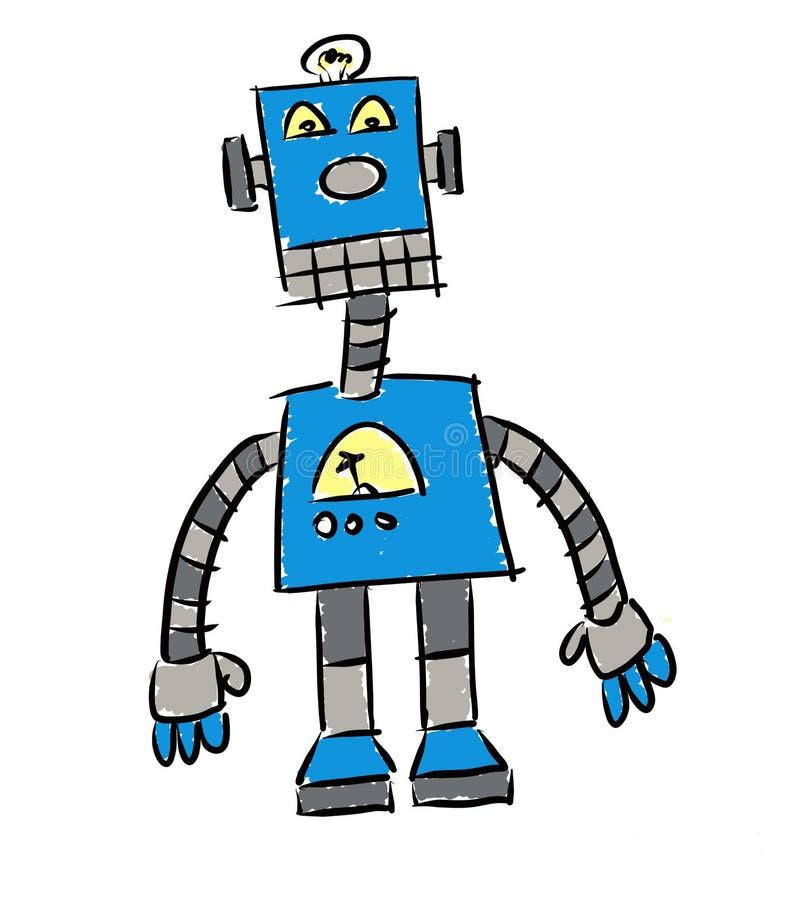 Wenig blauer Roboter stockbild