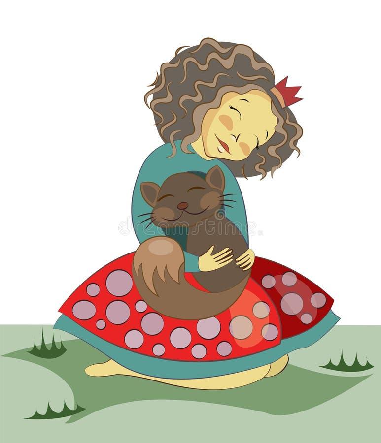 Wenig brunette Mädchen, das ein Kätzchen umarmt Hundekopf mit einem netten glücklichen und unverschämten Lächeln getrennt auf ein stock abbildung