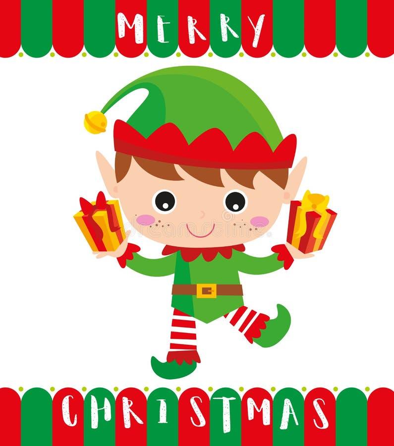 Wenig Elfe holt Ihnen Geschenke stockbilder
