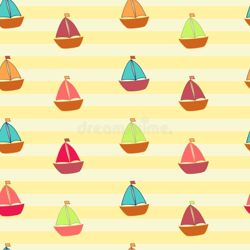 Wenig färbte Schiffe auf gestreiftem Hintergrund vektor abbildung