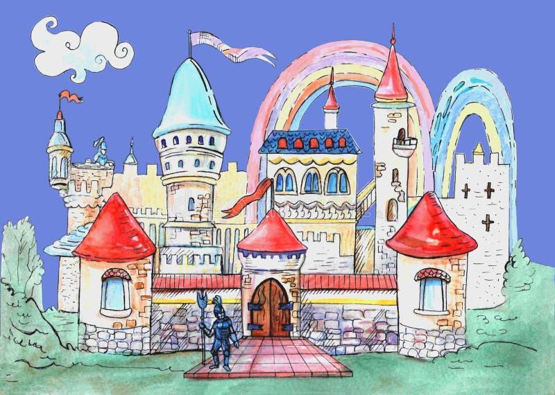 Wenig feenhaftes Schloss lokalisiert auf dem neutralen blauen Hintergrund Dekoratives Bild einer Flugwesenschwalbe ein Blatt Papi stock abbildung
