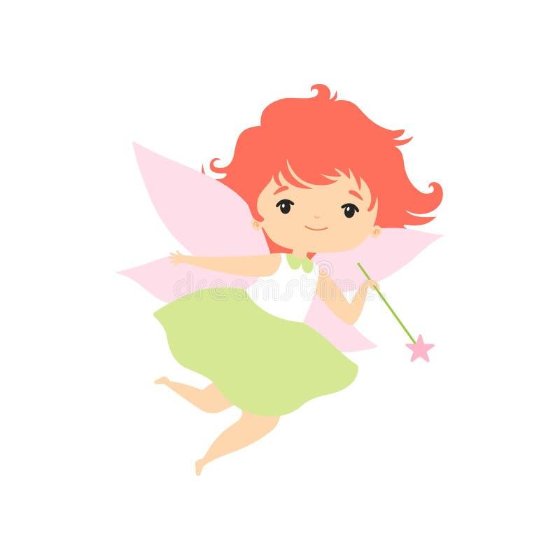 Wenig Forest Fairy Flying mit magischem Stab, reizende feenhafte Mädchen-Zeichentrickfilm-Figur-Vektor-Illustration lizenzfreie abbildung
