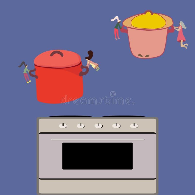 Wenig Frauennahrung, die Töpfe auf Kocher herstellt und setzt lizenzfreie abbildung