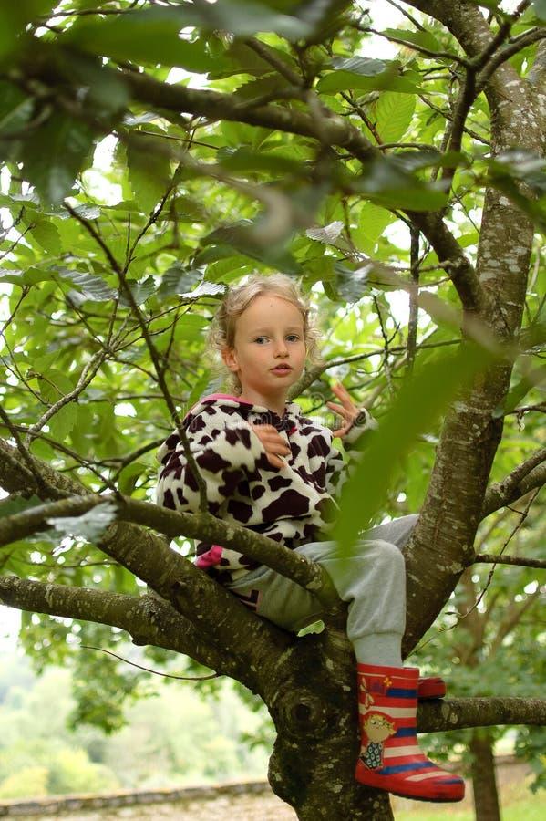Wenig gelocktes Mädchen in einem beschmutzten Vlies und in Gummistiefeln sitzt auf einem Baum Ferien im Dorf, glückliche Kindheit stockbilder