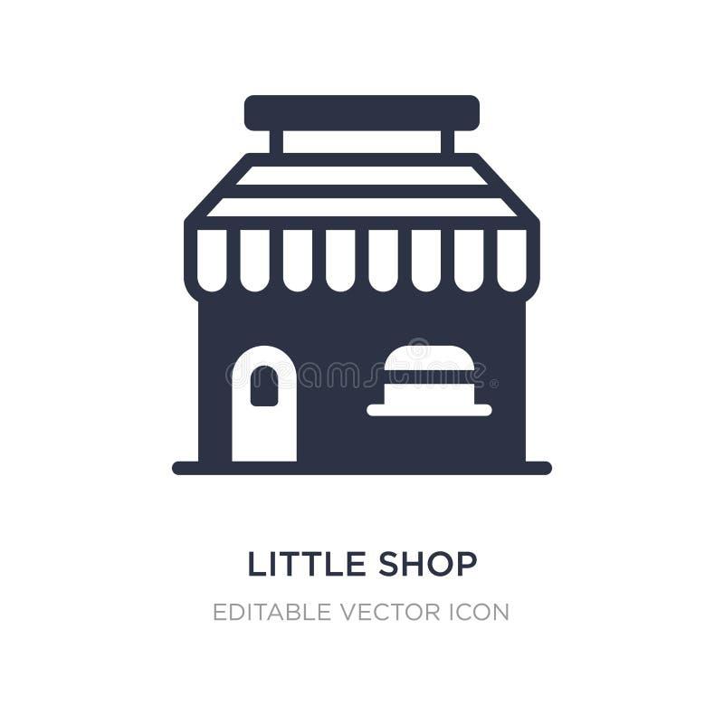 wenig Geschäft mit Markisenikone auf weißem Hintergrund Einfache Elementillustration vom Geschäftskonzept lizenzfreie abbildung