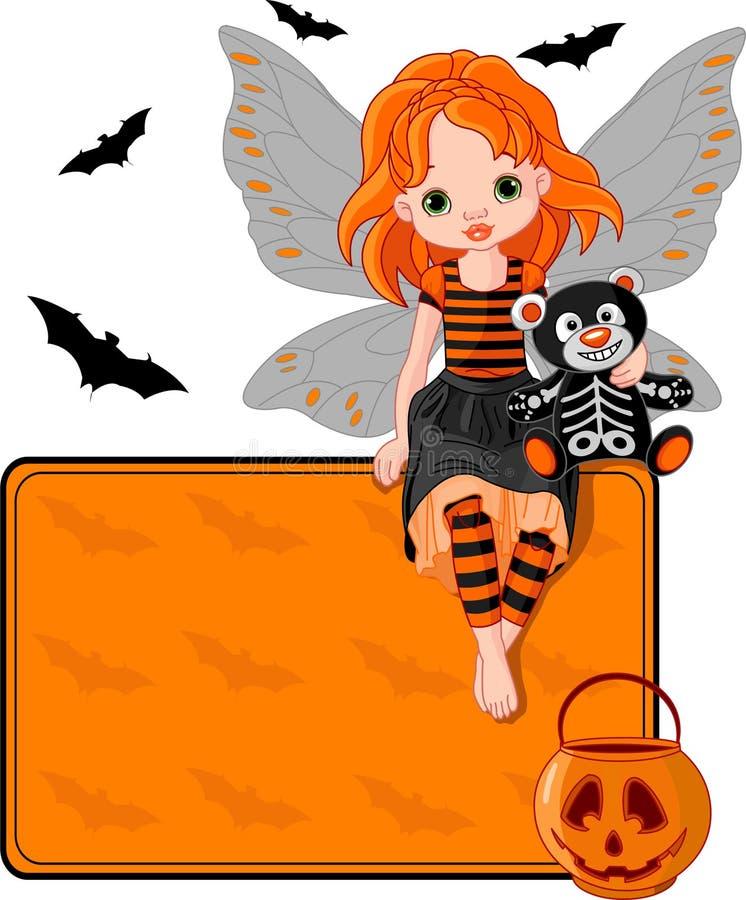 Wenig Halloween-feenhafte Platzkarte vektor abbildung