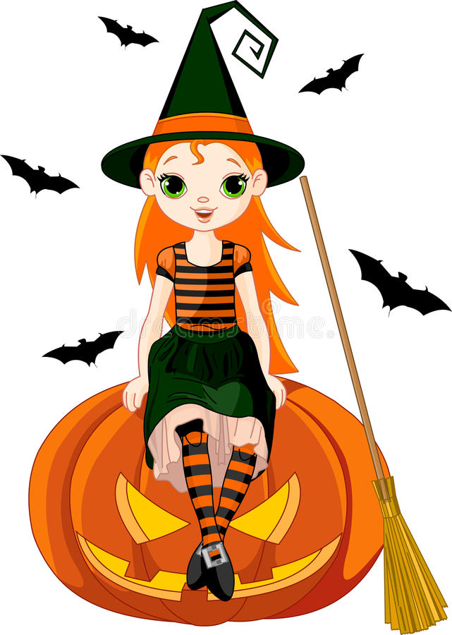 Wenig Halloween-Hexe auf Kürbis stock abbildung