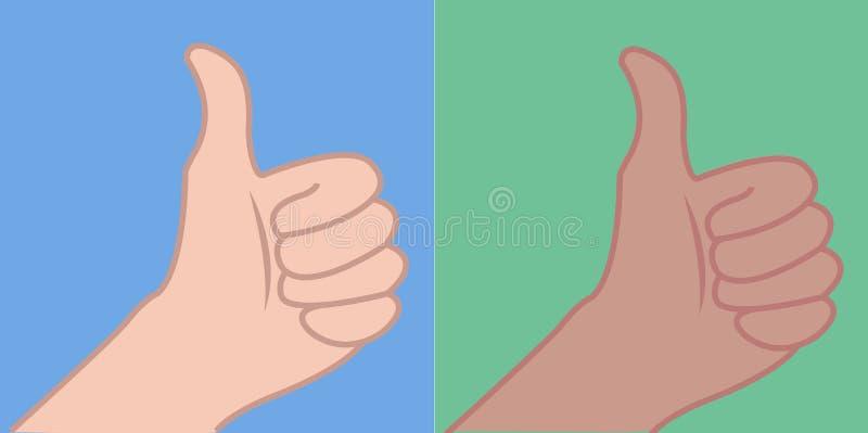 Wenig Hand oben, Finger oben, Daumen oben, übergeben kaukasischen Handbrunette vektor abbildung