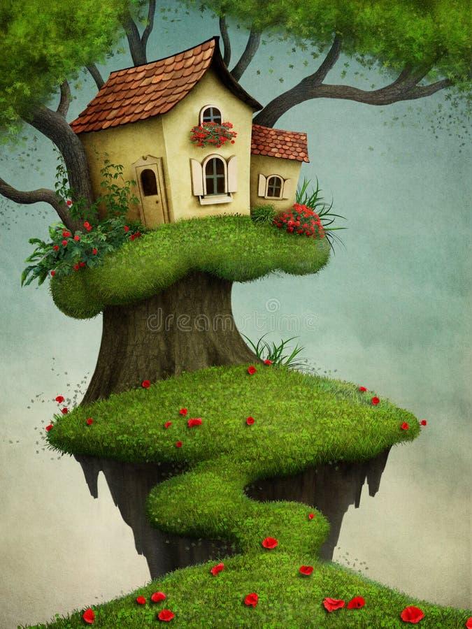 Wenig Haus auf dem Baum stock abbildung