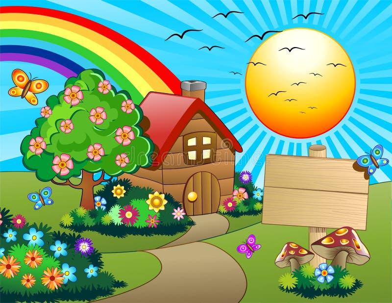 Wenig Haus auf kindlichem grünem Hügel-Vektor vektor abbildung