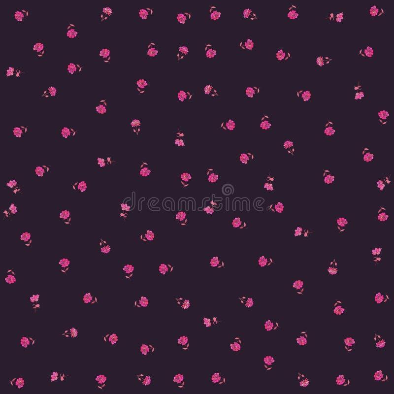 Wenig Hochrot stieg die Blumen, die auf schwarzem Hintergrund lokalisiert wurden Druck für Gewebe Endloses Sommermuster lizenzfreie abbildung