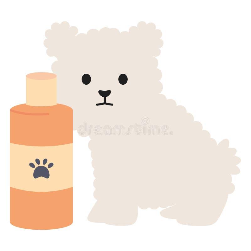 Wenig Hundeentzückendes Maskottchen mit Shampooflasche stock abbildung