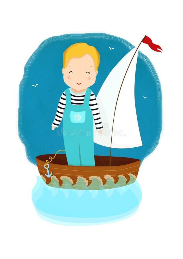 Wenig Junge in einem Boot unter dem Segel, segelnd auf Wellen in einem Meer oder in einem Ozean vektor abbildung