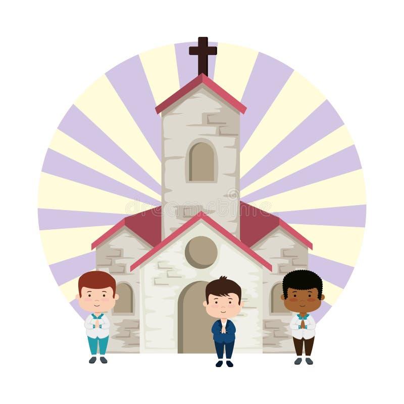 Wenig Jungen in den ersten Kommunionscharakteren der Kirche lizenzfreie abbildung