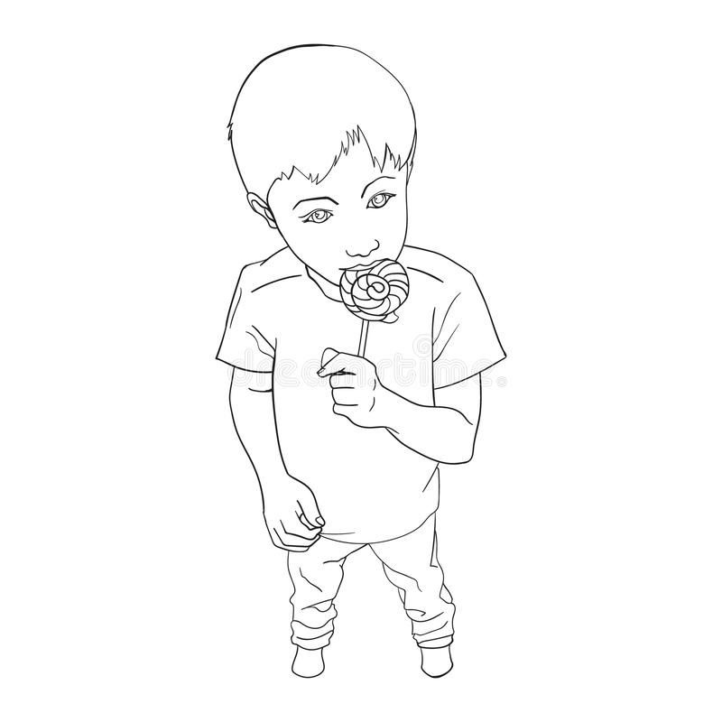 Wenig Jungenholdinglutschersüßigkeit Kind, das Bonbon isst Linie Kunst Hand gezeichnete Vektorillustration lokalisiert auf Wei? lizenzfreie abbildung