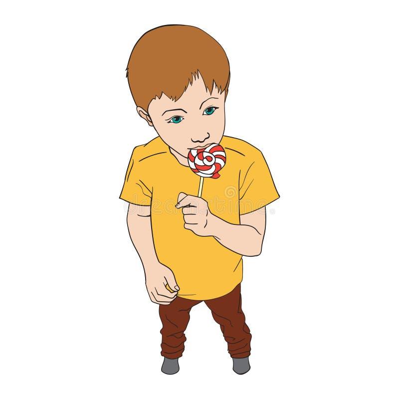Wenig Jungenholdinglutschersüßigkeit Kind, das Bonbon isst Vektorillustration lokalisiert auf Wei? lizenzfreie abbildung