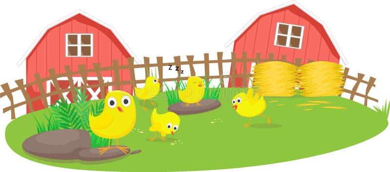 Wenig Kükenspiel im Bauernhof vektor abbildung