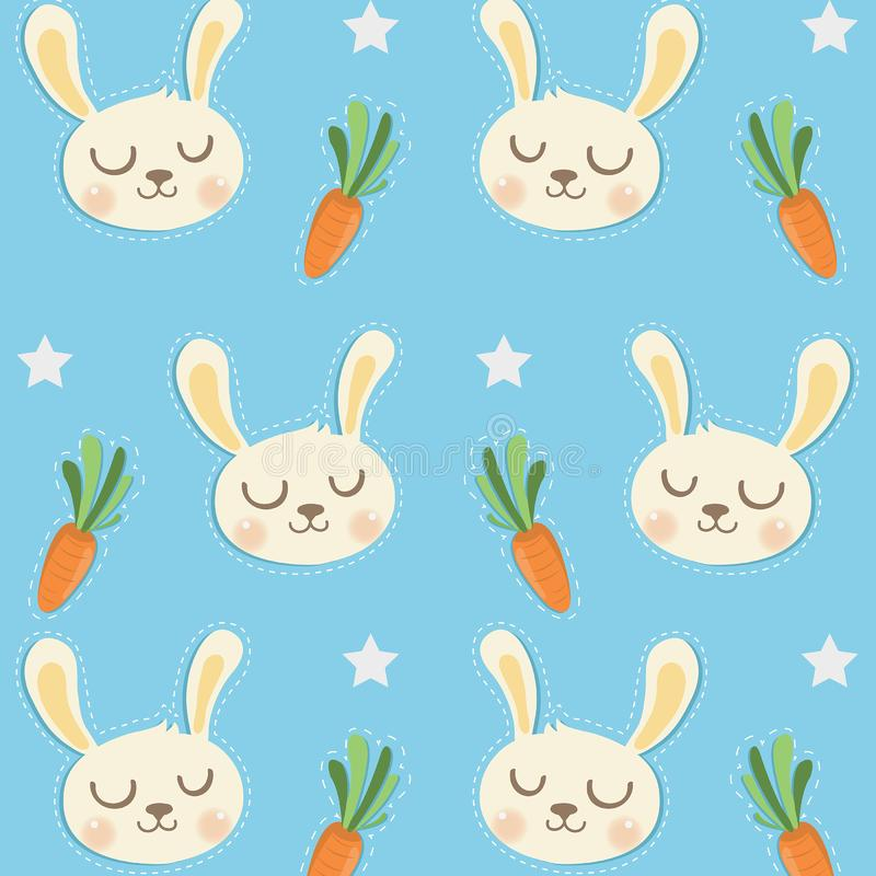 Wenig Kaninchen-Muster mit netten Karotten lizenzfreie abbildung