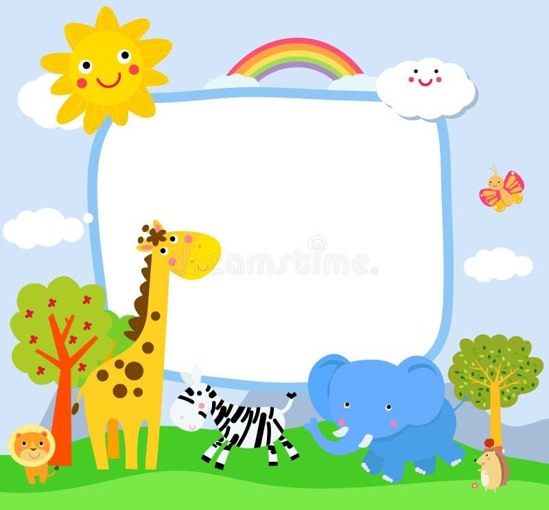 Wenig Karikatur Elefant, Giraffe und Zebra vektor abbildung