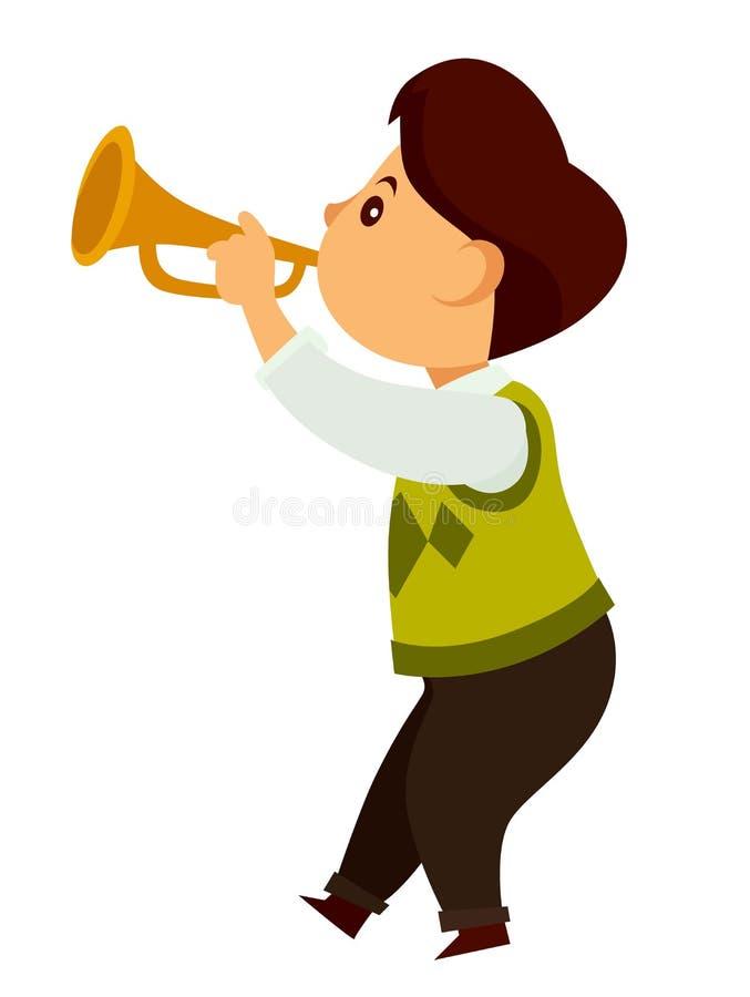 Wenig Kinderspiele Talanted auf kleiner goldener Trompete stock abbildung