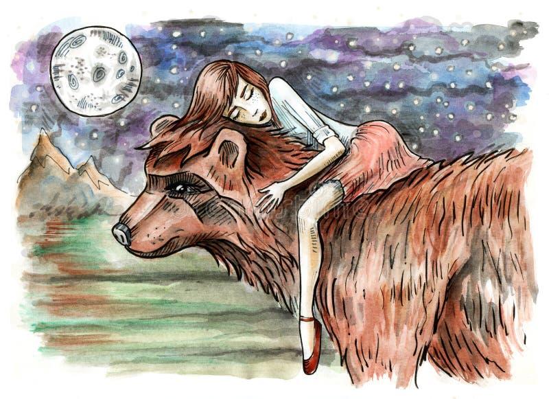 Wenig Mädchen, das auf einem Bären schläft Fantasienachtszene lizenzfreie abbildung
