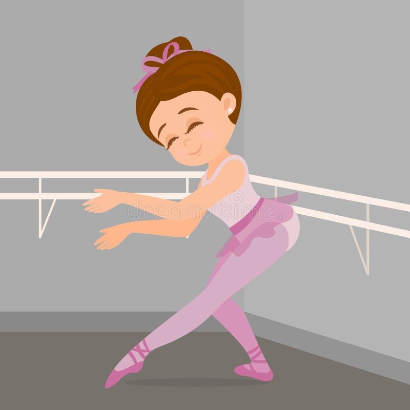 Wenig Mädchen, das Ballettschritte in ihrer Tanzakademie durchführt stock abbildung