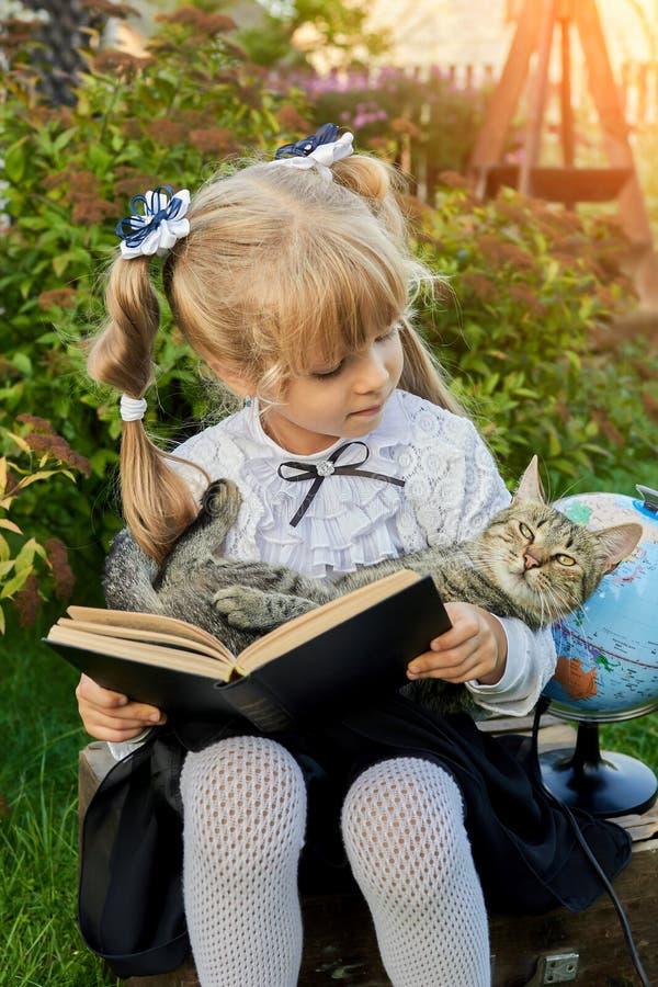 Wenig Mädchen, das ein Buch mit einer Katze liest stockfotos