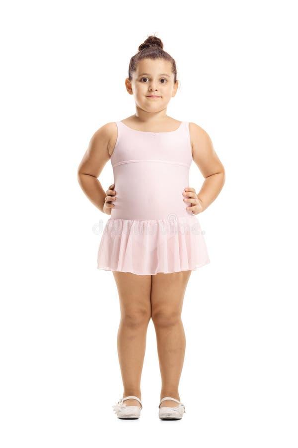 Wenig Mädchen in einer rosa Ballettkleideraufstellung stockfotografie