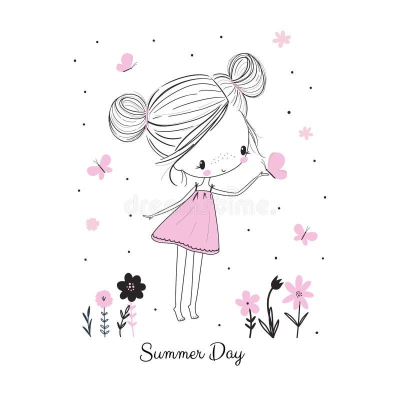 Wenig Mädchen mit Schmetterlingen und Blumen Gekritzelzeichnungs-Vektorillustration stock abbildung