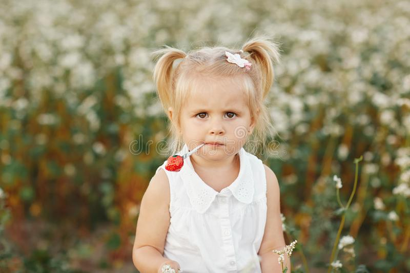 Wenig Mädchen mit zwei Endstücken Porträt eines kleinen charismatischen Mädchens Mädchen mit Süßigkeit stockbilder