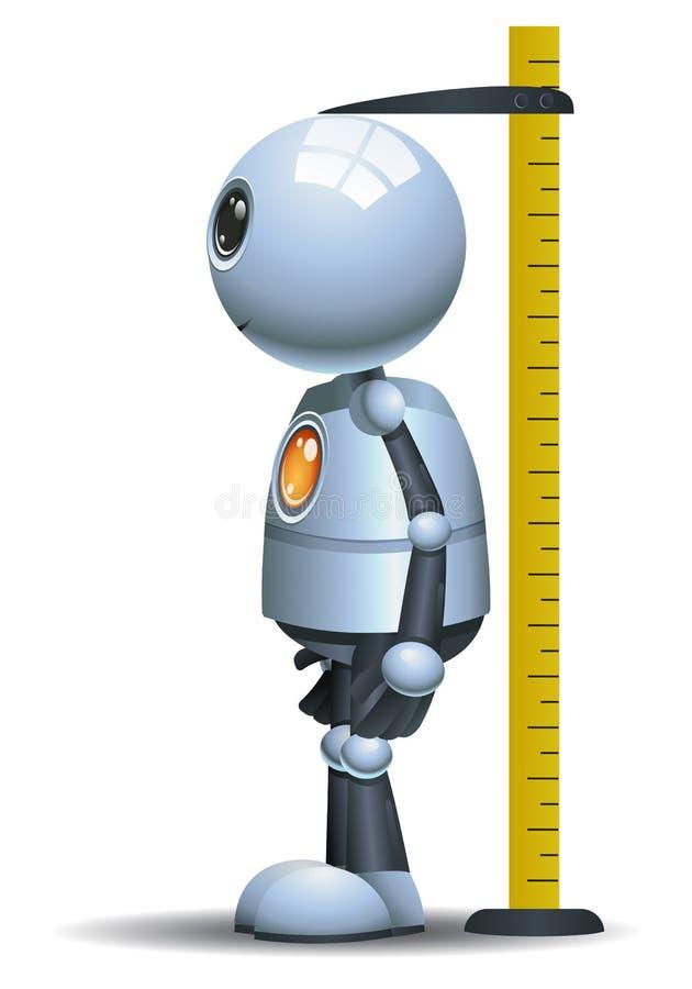 Wenig messende Höhe des Roboters auf lokalisiertem weißem Hintergrund stock abbildung