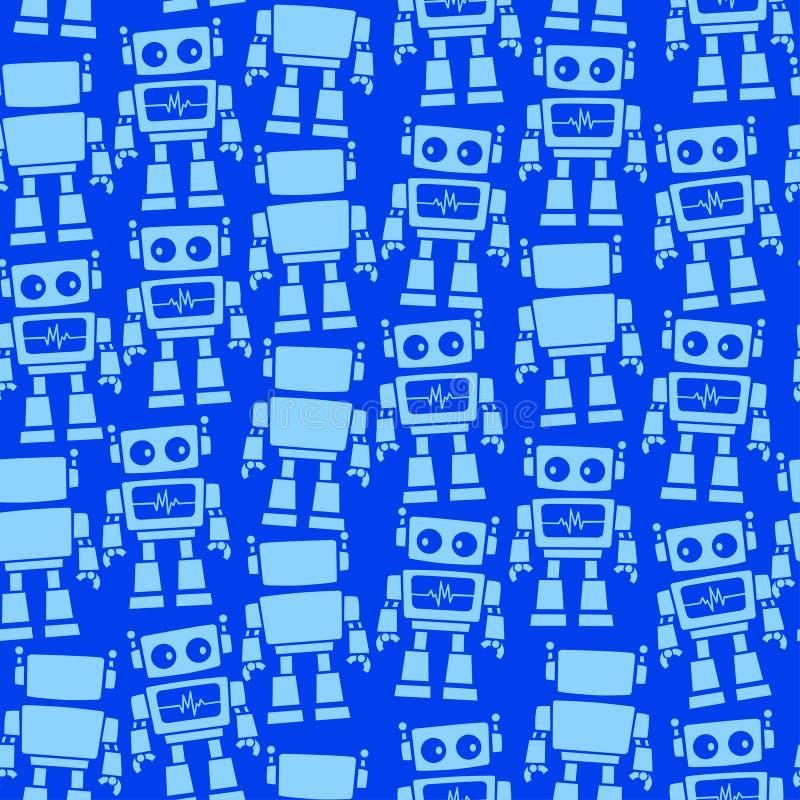 Wenig nahtloses Muster der Roboterfront und -rückseite lizenzfreie abbildung