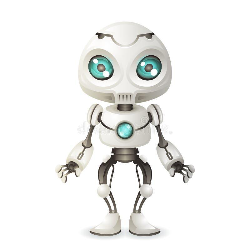 Wenig nette Design-Vektorillustration der Robotermaskottcheninnovation Scifitechnologie-Zukunftsroman-Zukunft 3d stock abbildung