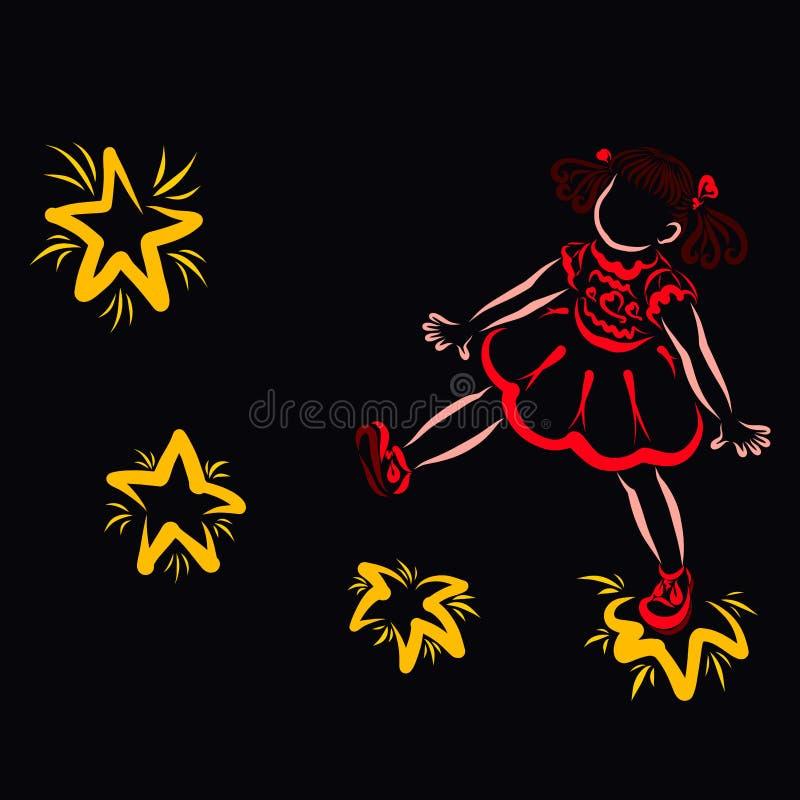 Wenig nettes Mädchen, das auf die Sterne, schwarzer Hintergrund geht stock abbildung