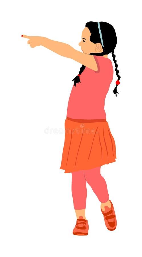Wenig nettes Mädchenlachen und -finger, welche die Vektorillustration lokalisiert auf weißem Hintergrund zeigt Glückliches Mädche lizenzfreie abbildung