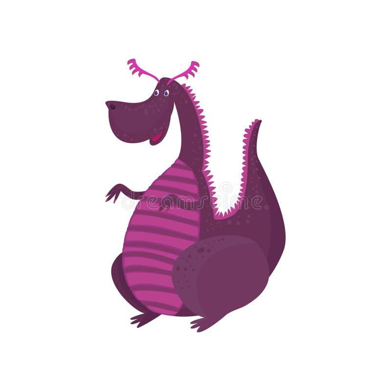 Wenig purpurrote Drachezeichentrickfilm-figur, mythisches Tier, Fantasiereptil-Vektor Illustration vektor abbildung