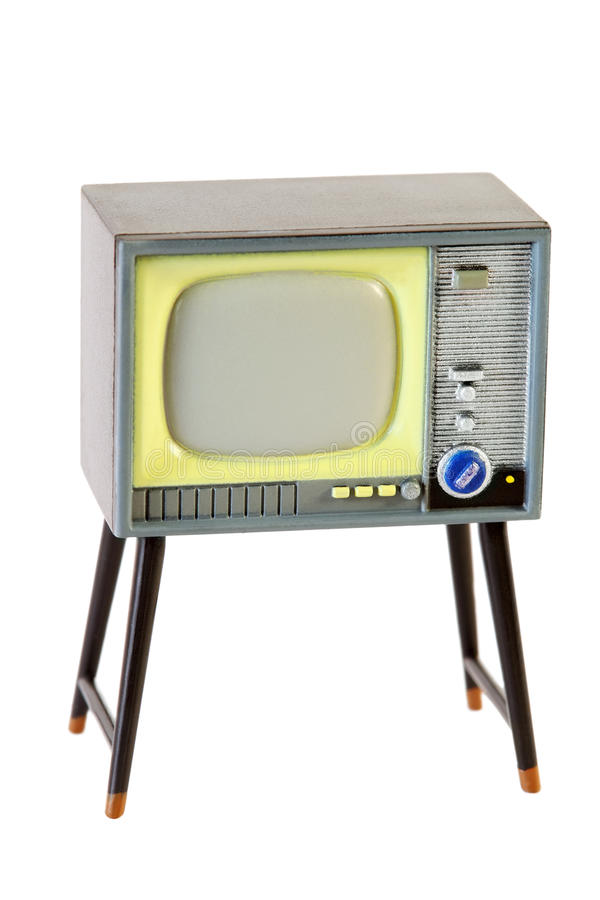 Wenig Retro- Fernsehen getrennt auf Weiß stockfotografie
