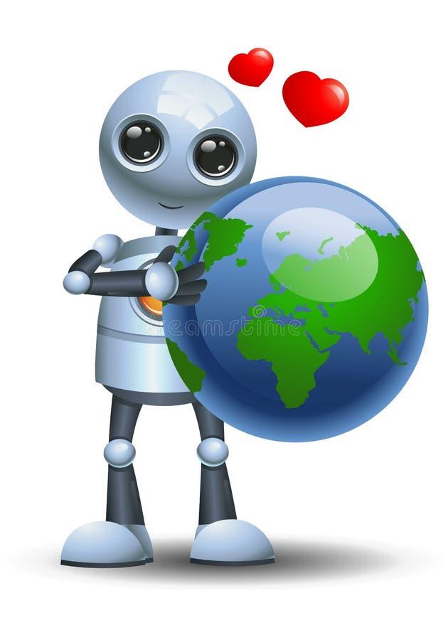 Wenig Roboter, der die Kugel liebt die Erde umarmt lizenzfreie abbildung