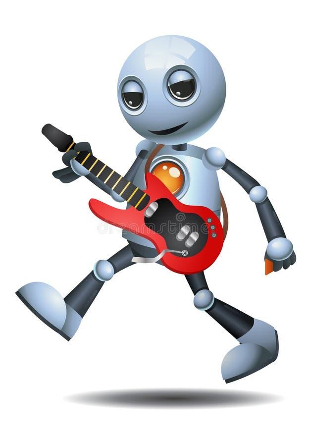 Wenig Roboter, der Gitarre auf lokalisiertem weißem Hintergrund spielt lizenzfreie abbildung