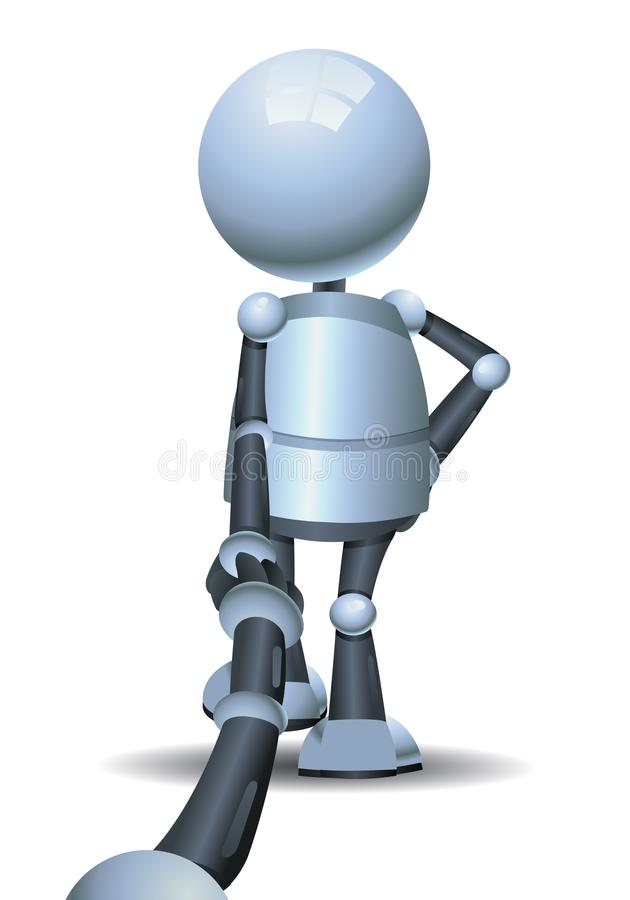 Wenig Roboter, der Hand auf Follow-me hält lizenzfreie abbildung